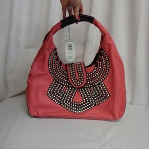 M.C. Handbags Purse in Berry/Black with Jewels